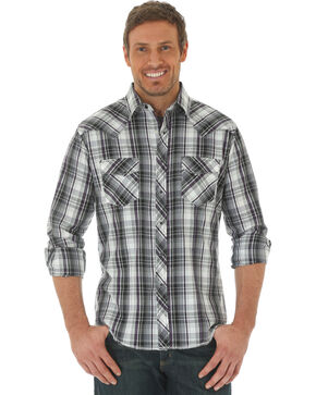 Wrangler Men's Black Western Fashion Snap Long Sleeve Plaid Shirt , Black, hi-res