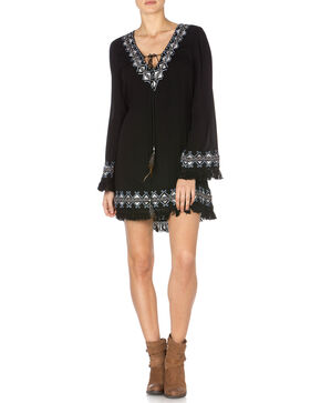 Miss Me Embroidered Fringe Fantasy Dress, Black, hi-res