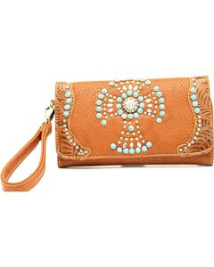Blazin Roxx Faux Turquoise Beaded Cross Clutch, , hi-res
