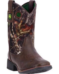 John Deere Boys' Mid-Calf Rubber Outsole Boots - Square Toe , Brown, hi-res