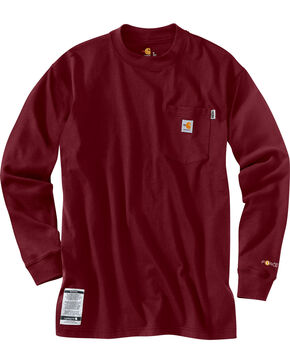 Carhartt Flame Resistant Force Cotton Long Sleeve Shirt, Dark Red, hi-res