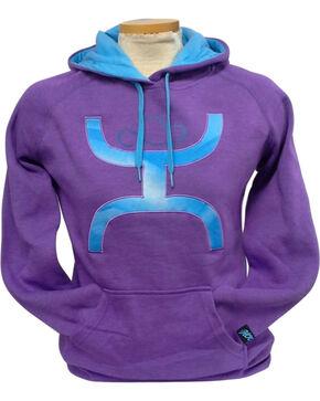 Hooey Women's Purple Snugly Blue Logo Hoodie , Purple, hi-res