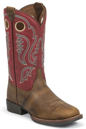 Justin Youth Boys' Roughstock Work Boots - Square Toe, Brown, hi-res