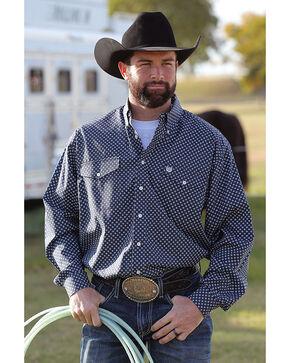Cinch Men's Long Sleeve Navy Printed Double Pocket Button Down Shirt, Navy, hi-res