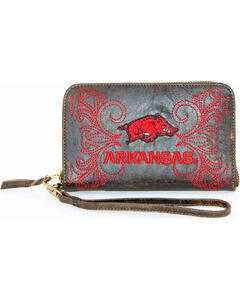 Gameday Boots University of Arkansas Leather Wristlet, , hi-res