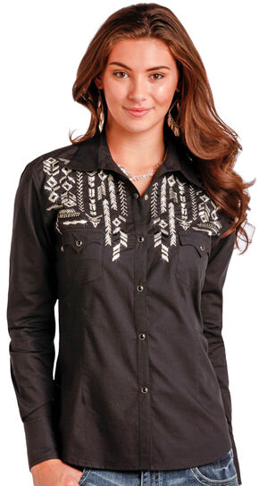 Panhandle Slim Women's Black Long Sleeve Two Pocket Shirt , Black, hi-res