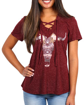 Shyanne Women's Lace-Up Steer Head T-Shirt , Burgundy, hi-res