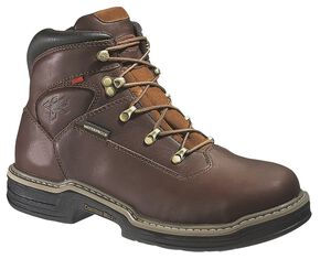 "Wolverine Buccaneer 6"" Waterproof Lace-Up Work Boots - Steel Toe, Dark Brown, hi-res"