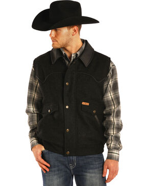 Powder River Outfitters Men's Holbrook Solid Wool Vest - Big & Tall, Black, hi-res