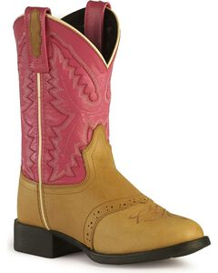 Old West Girls' Pink Cowgirl Boots - Round Toe, , hi-res