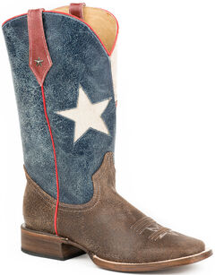 Roper Texas Flag Cowboy Boots - Square Toe, , hi-res