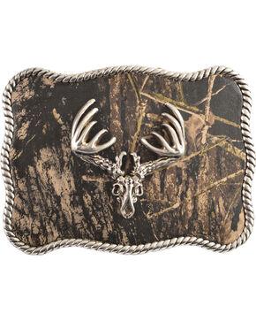 Nocona Mossy Oak Deer Skull Buckle, Silver, hi-res