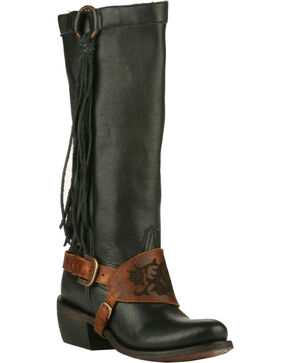 Junk Gypsy by Lane Women's Black Southbound Fringe Boots - Round Toe , Black, hi-res