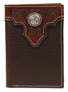 Ariat Tooled Overlay & Concho Tri-fold Wallet, Brown, hi-res