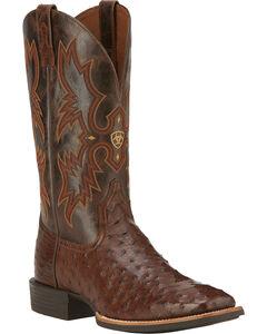 Ariat Quantum Classic Full Quill Ostrich Cowboy Boots - Square Toe, , hi-res