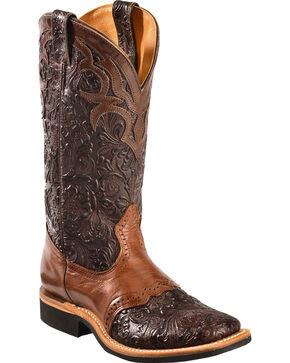 Boulet Dankan Brown Ranger Chestnut Floral Cowgirl Boots - Square Toe, Dark Brown, hi-res