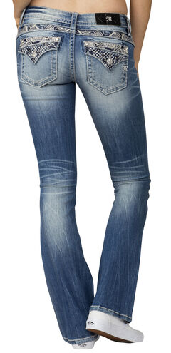 Miss Me Women's Indigo Embroidered Poket Jeans - Boot Cut , , hi-res
