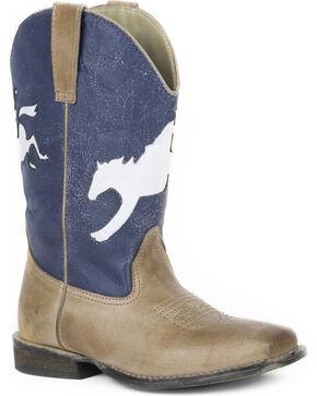 Roper Boys' Tan Bronco Rider Boots - Square Toe , Tan, hi-res