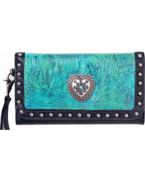 Blazin Roxx Women's Ginger Heart and Croco Wallet , Turquoise, hi-res