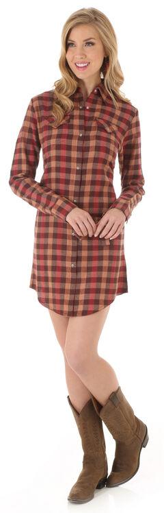 Wrangler Women's Rust Plaid Shirt Dress, , hi-res