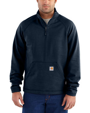 Carhartt Men's Flame Resistant Force Quarter-Zip Fleece Jacket - Big & Tall, Navy, hi-res
