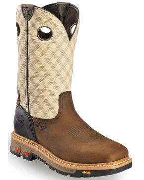 Justin Commander Work Boots - Square Steel Toe, Tan, hi-res