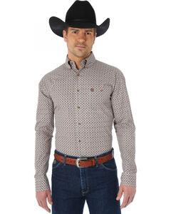 Wrangler George Strait Chestnut and Red Print Western Shirt, , hi-res