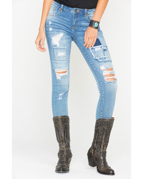 Miss Me Women's Destroyed and Patched Jeans - Skinny , Indigo, hi-res