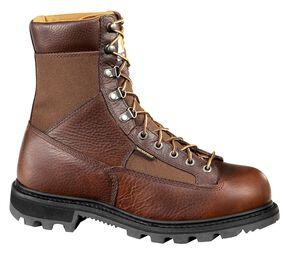 "Carhartt 8"" Steel Toe Brown Leather Low Heel Waterproof Logger Boots, Camel, hi-res"