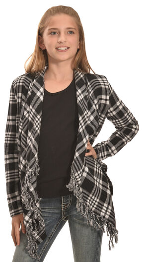 Derek Heart Girls' Black & White Plaid Flannel Fringe Cardigan , White, hi-res