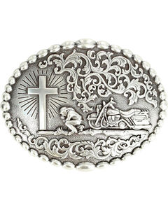 Nocona Motorcycle Prayer Scroll Buckle, , hi-res