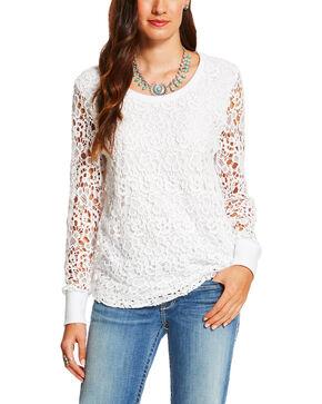 Ariat Women's White Crochet Dixie Sweatshirt , White, hi-res