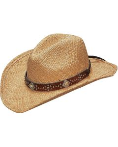 Blazin Roxx Scroll Studded Croc Print Hat Band Raffia Straw Cowgirl Hat, , hi-res