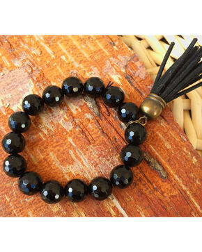2 Queen B's Agate Faceted Black Stretch Bracelet with Tassel, Black, hi-res