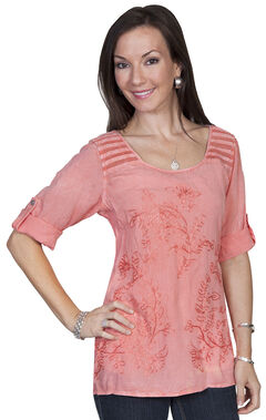 Scully Honeycreek Embroidered Crochet Trim Blouse, , hi-res