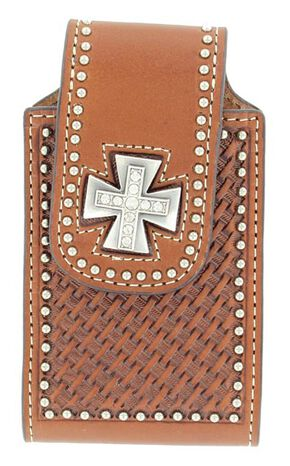 Rhinestone Studded Basketweave iPhone Case, Tan, hi-res