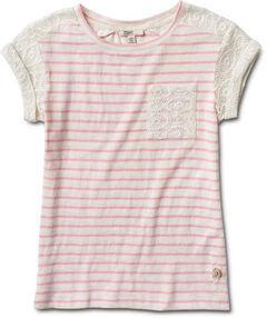 Silver Girls' Crochet Sleeve Stripe Top, , hi-res