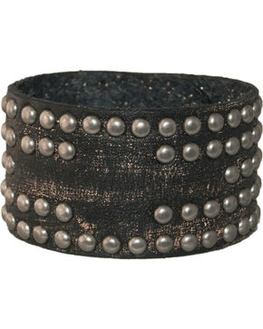 Stetson Leather Studded Cross Wristband, Black, hi-res
