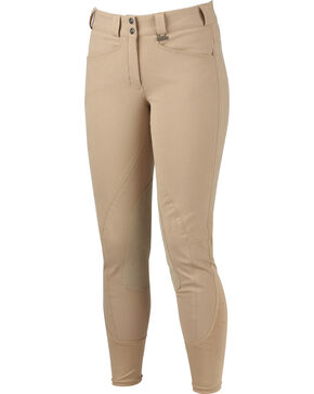 Dublin Performance Slender Euro Seat Front Zip Breeches, Beige, hi-res