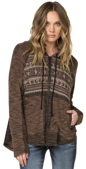 Miss Me Cool Rider Hooded Zip Jacket, Brown, hi-res