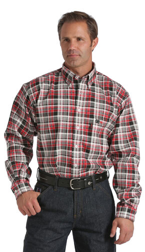 Cinch Black, Red, and White Plaid Flame Resistant Twill Long Sleeve Shirt, Plaid, hi-res