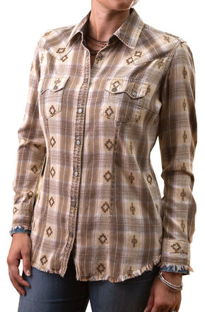 Ryan Michael Women's Vintage Dobby Plaid Shirt, Light Brown, hi-res