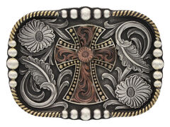 Montana Silversmiths Tri-Color Antiqued Western Deco Cross Attitude Belt Buckle, , hi-res