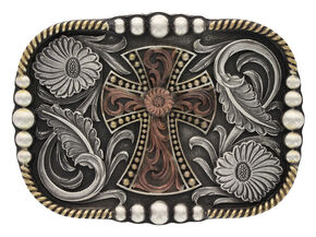 Montana Silversmiths Tri-Color Antiqued Western Deco Cross Attitude Belt Buckle, Multi, hi-res