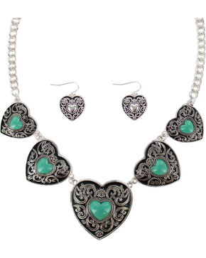 Shyanne Women's Heart Concho Jewelry Set, Silver, hi-res