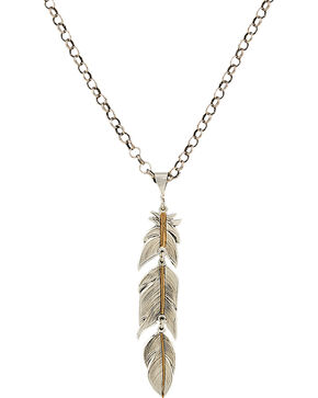 Montana Silversmiths Heirloom Gold Plume Feather Necklace, Silver, hi-res