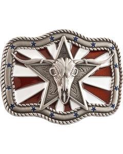 Nocona Patriotic Longhorn Skull Buckle, , hi-res