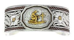 Montana Silversmiths Tri-Color Wide LeatherCut Portrait Cuff Bracelet with Praying Cowboy, , hi-res