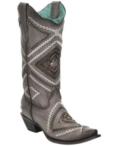 Corral Women's Woven Diamond Inlay Boots - Snip Toe , , hi-res