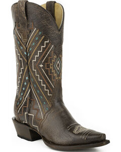 Roper Brown Neon Aztec Sanded Cowgirl Boots - Snip Toe, , hi-res